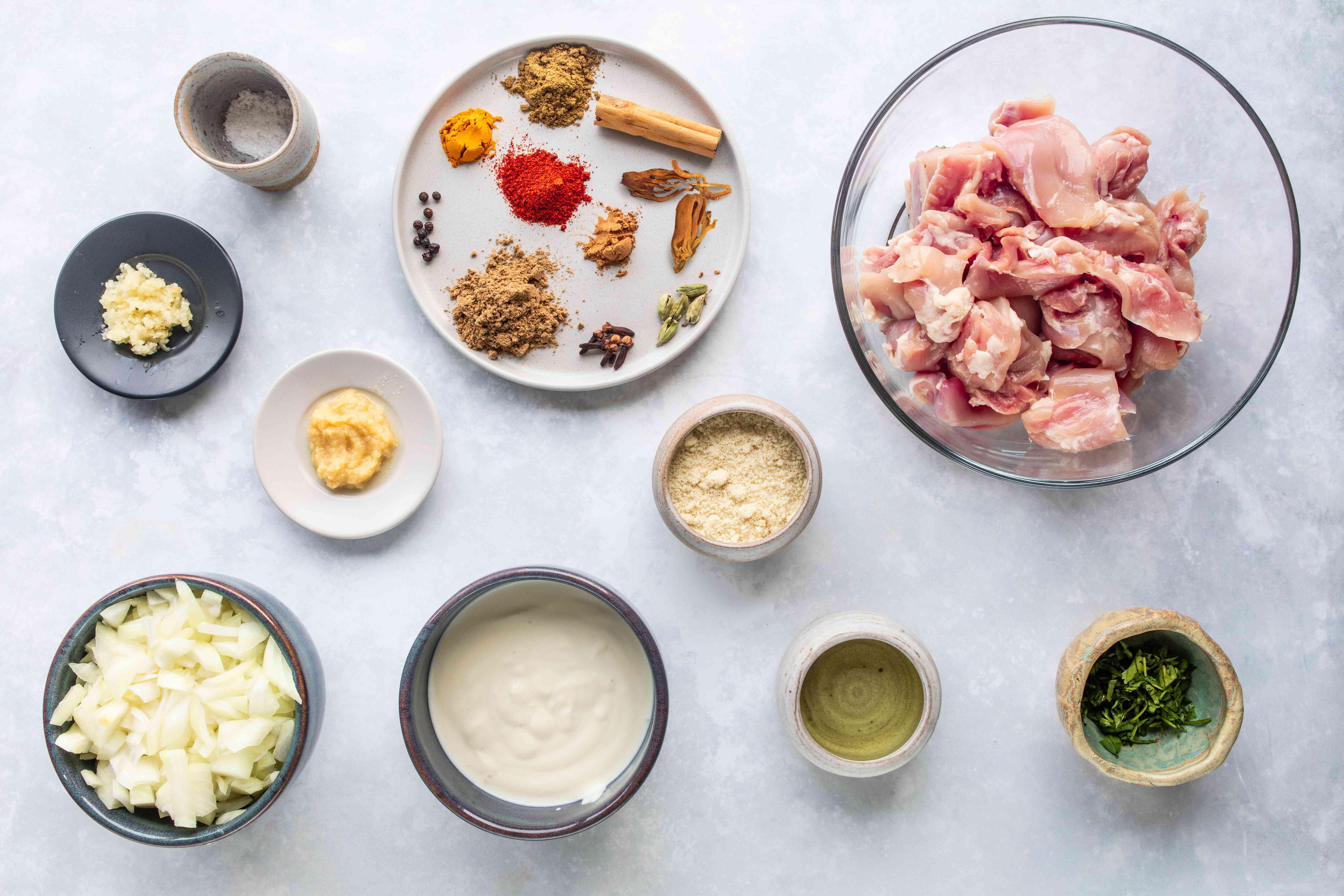 Ingredients for Indian chicken korma