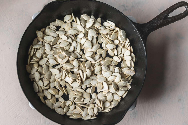 Pumpkin seeds in pan