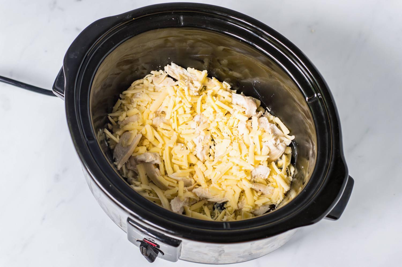 Shredded cheese in crock pot