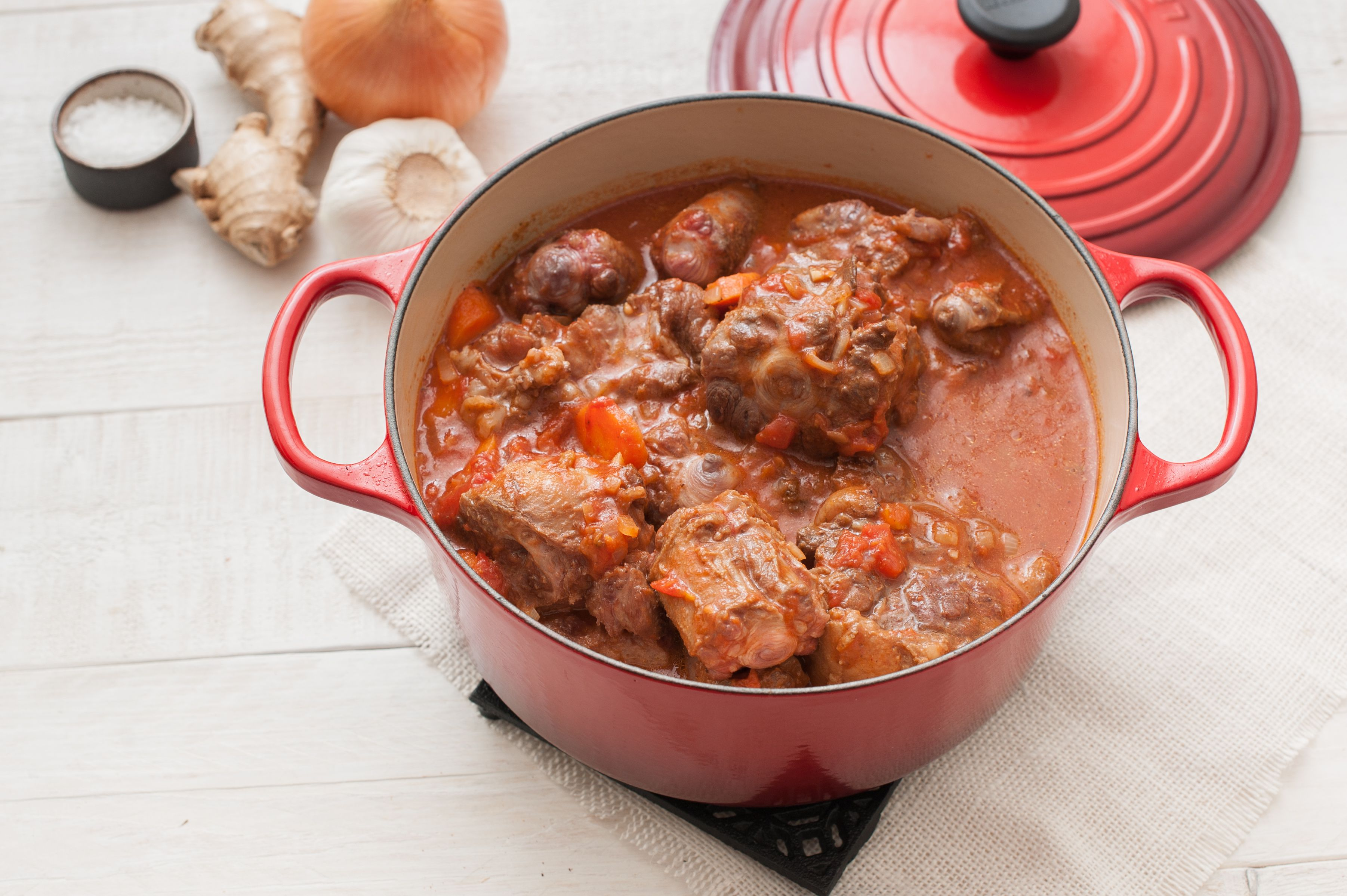 Oxtails in a Dutch oven