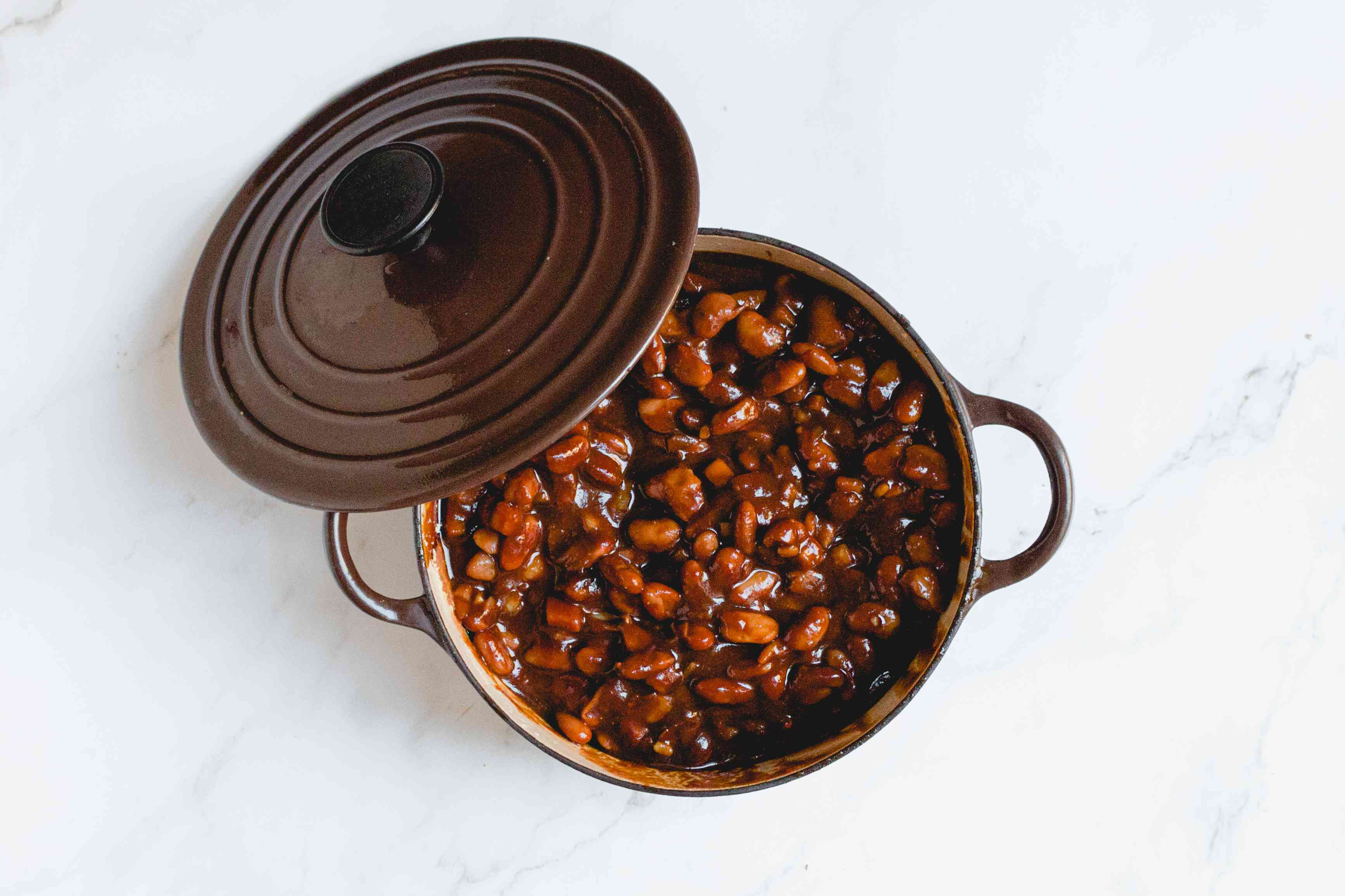Vegetarian Boston Baked Beans With Molasses in a Dutch oven