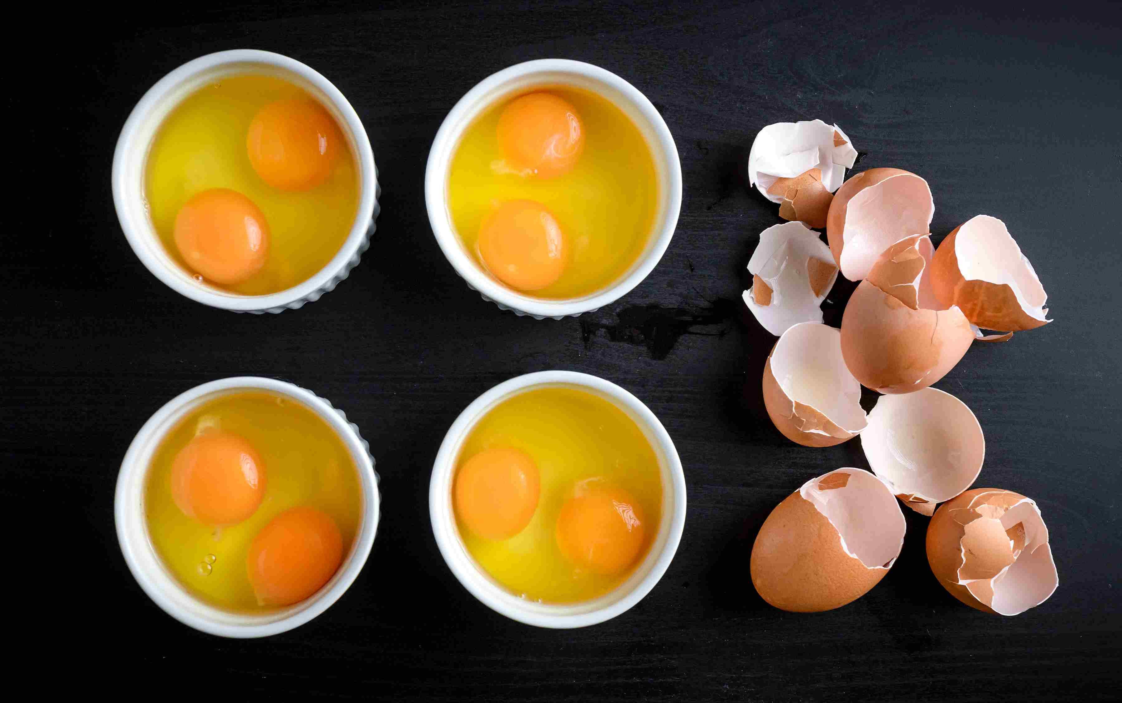 Break eggs into dish