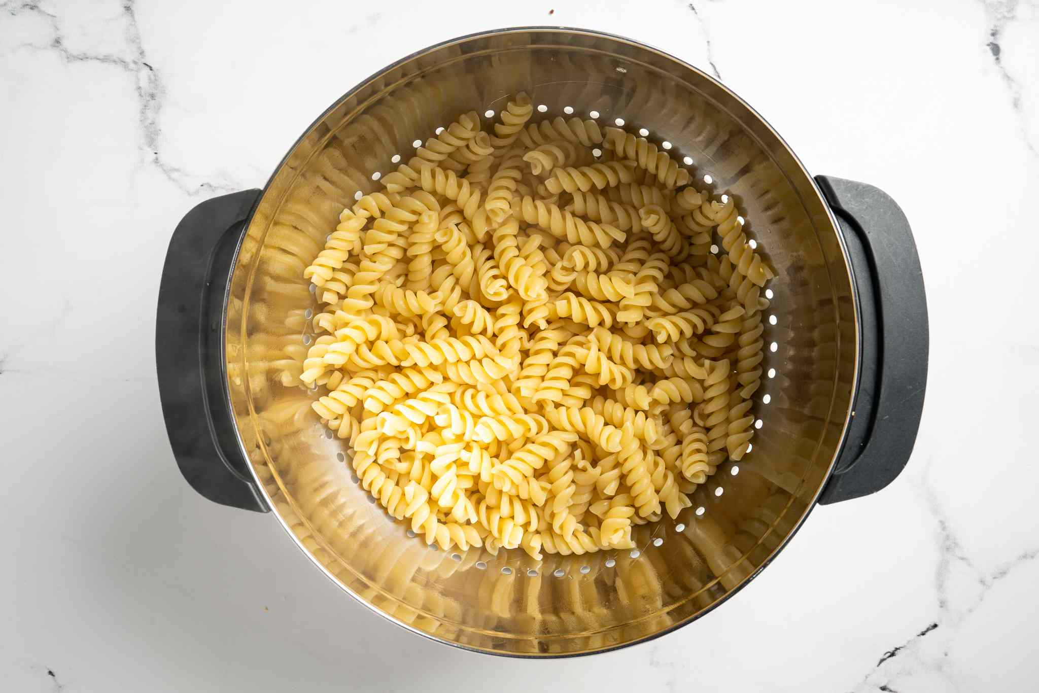 drained pasta in a colander
