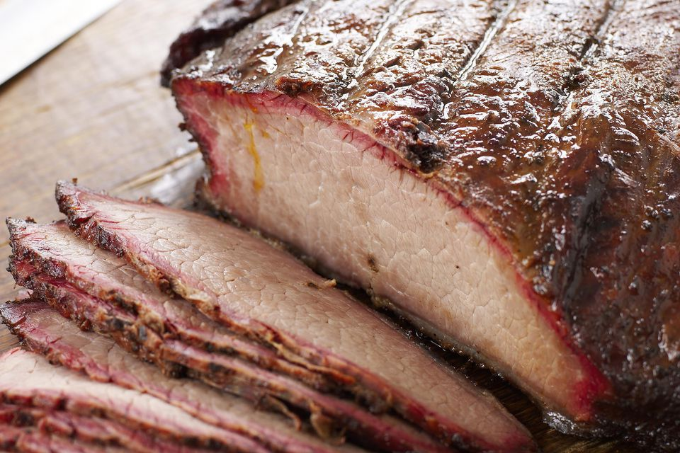 Sliced barbecued brisket