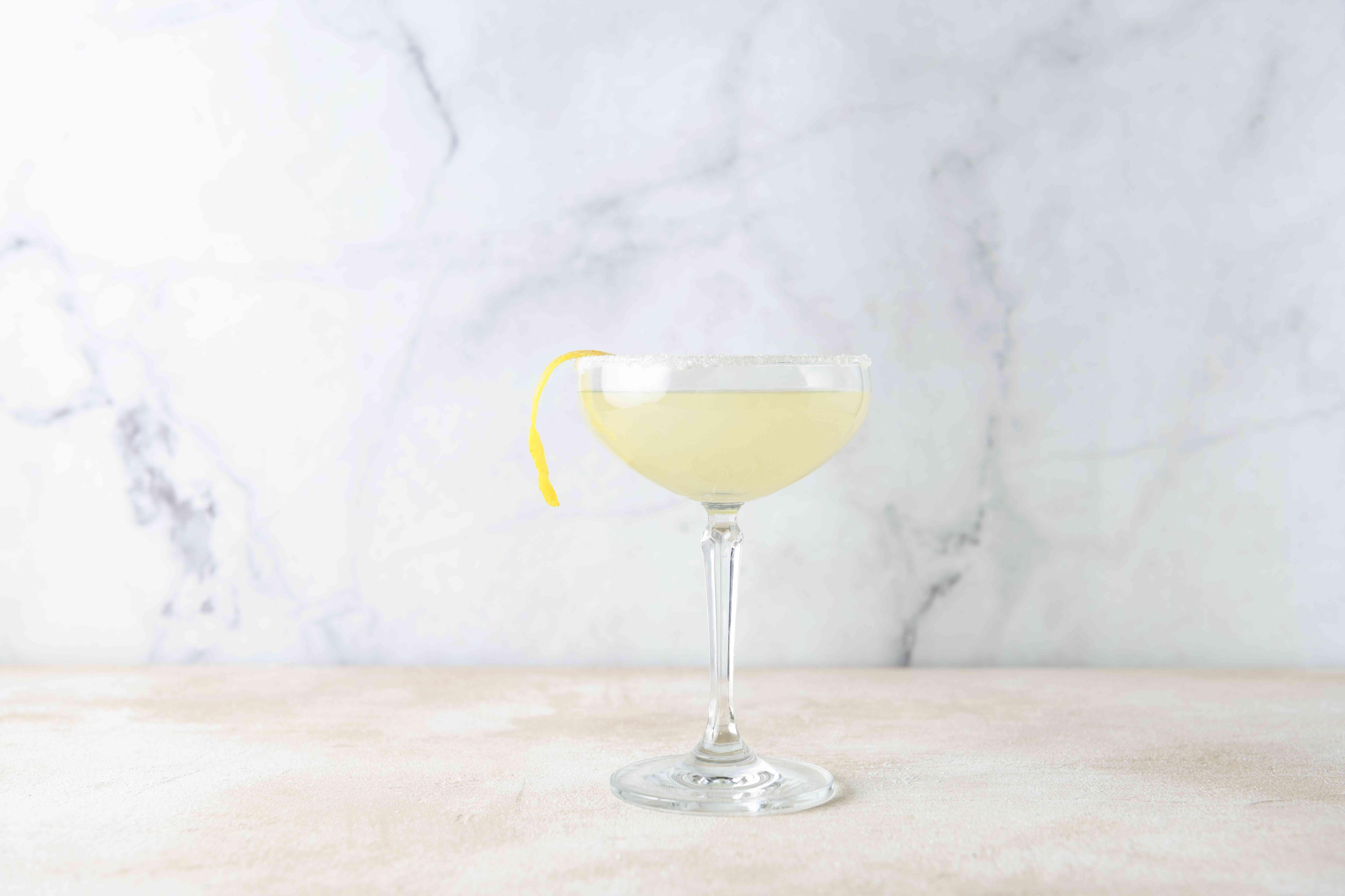 Lemon Drop Martini, garnished with a lemon twist