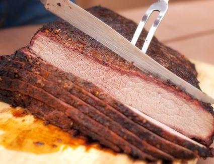 Beef brisket being sliced