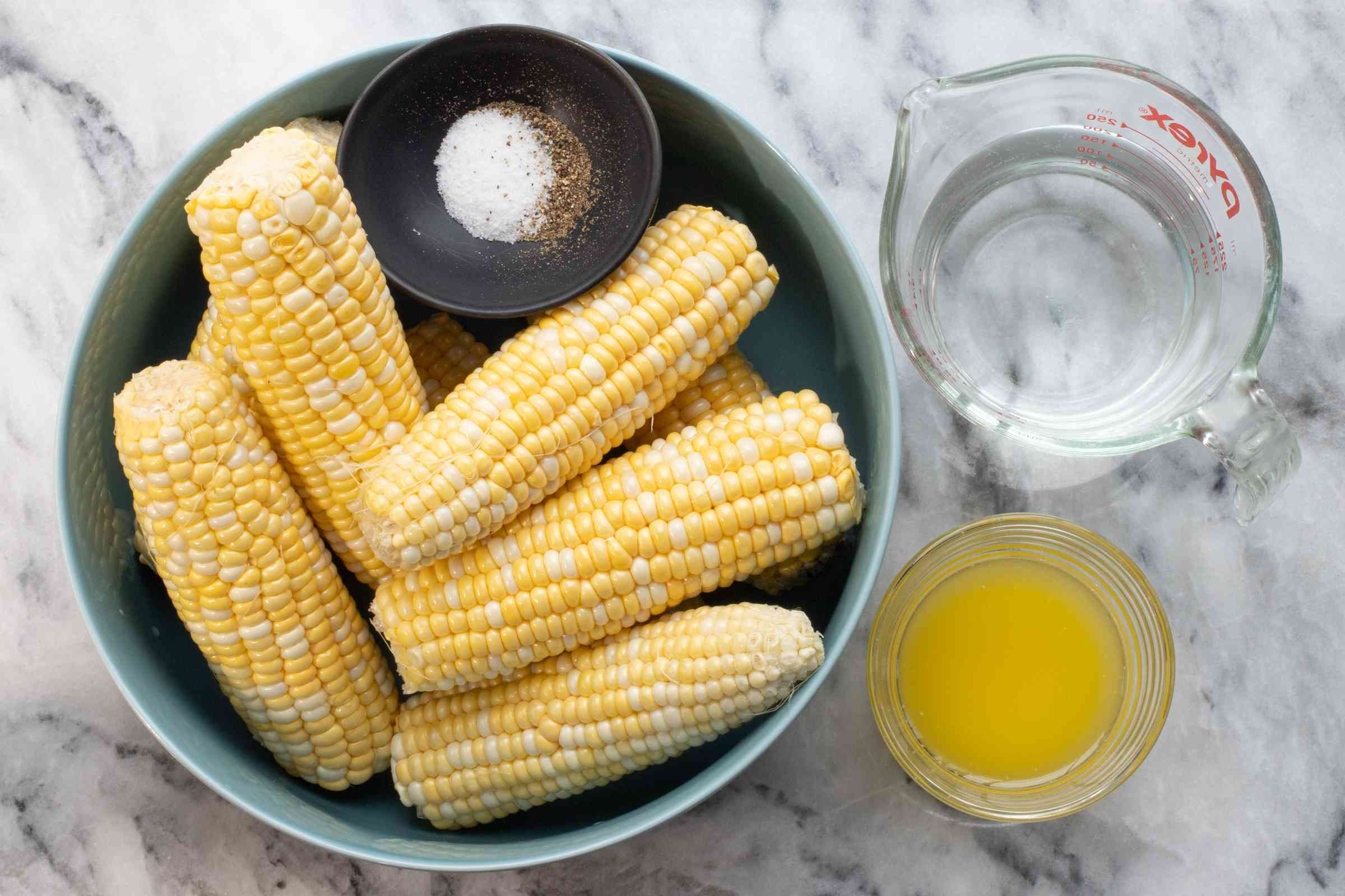 Ingredients for Instant Pot corn on the cob.