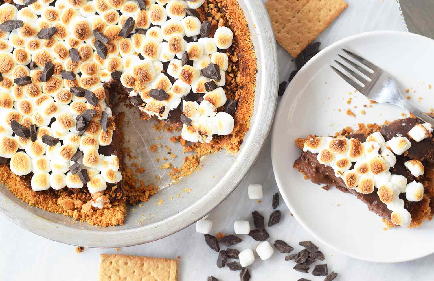 S'mores pie on a serving plate