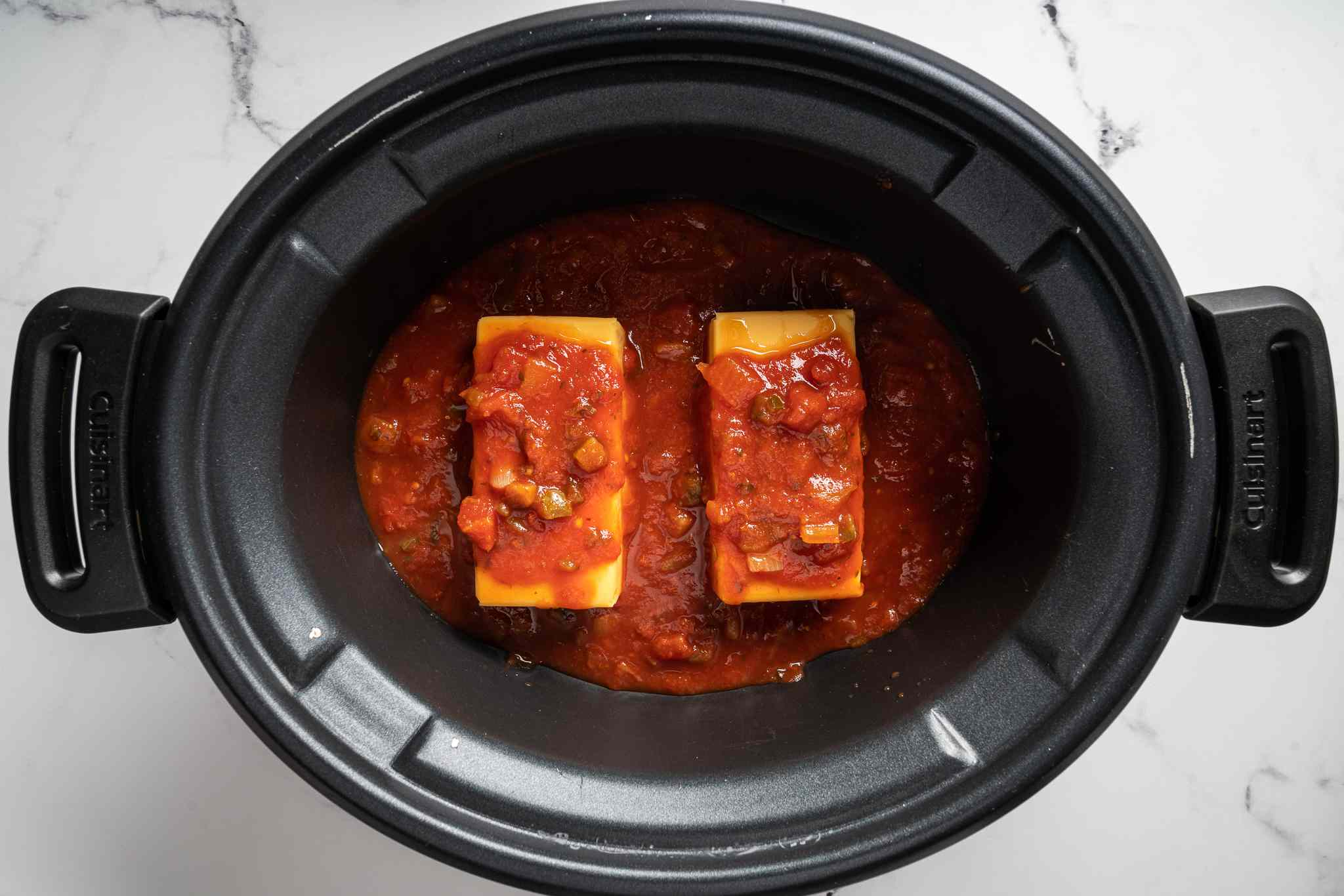 salsa and cheese in a slow cooker