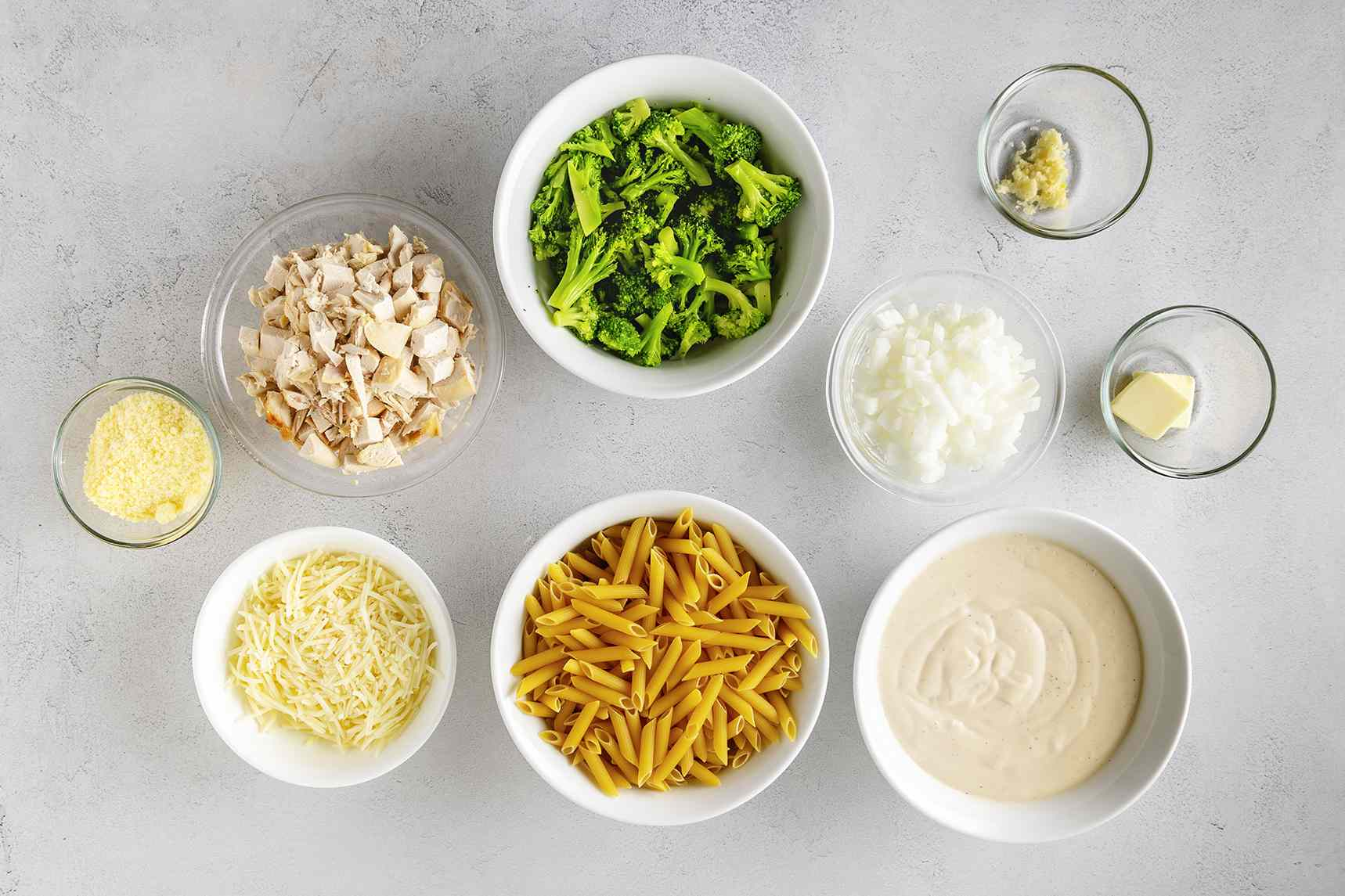 Ingredients for chicken broccoli ziti alfredo bake