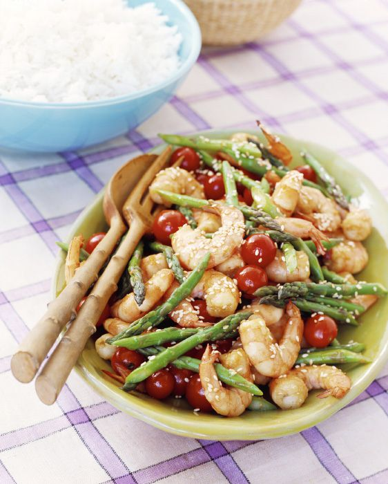 Chinese Asparagus, tomatoes, and shrimp