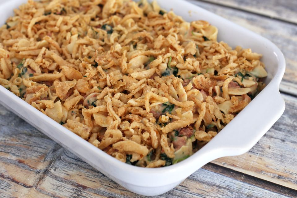 Corned Beef Noodle Casserole With Fried Onions
