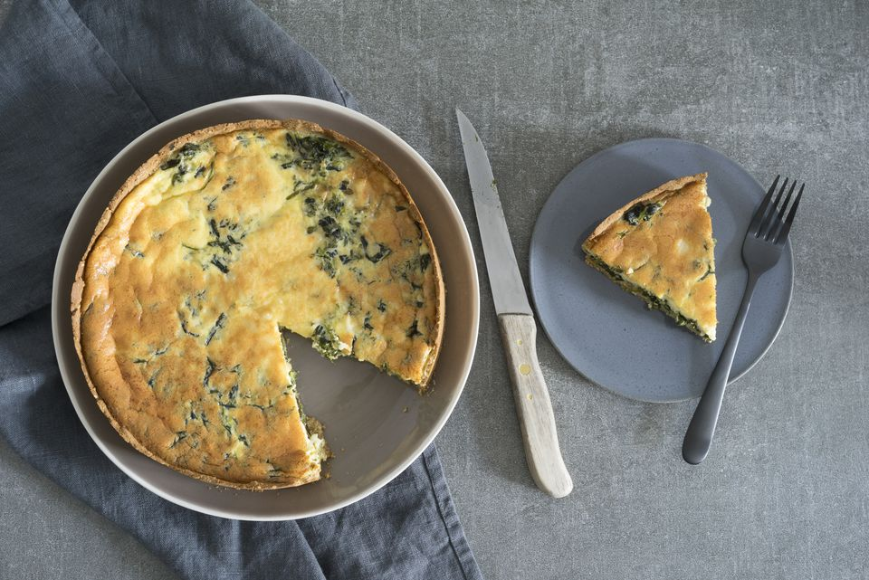 spinach, eggs, and ham