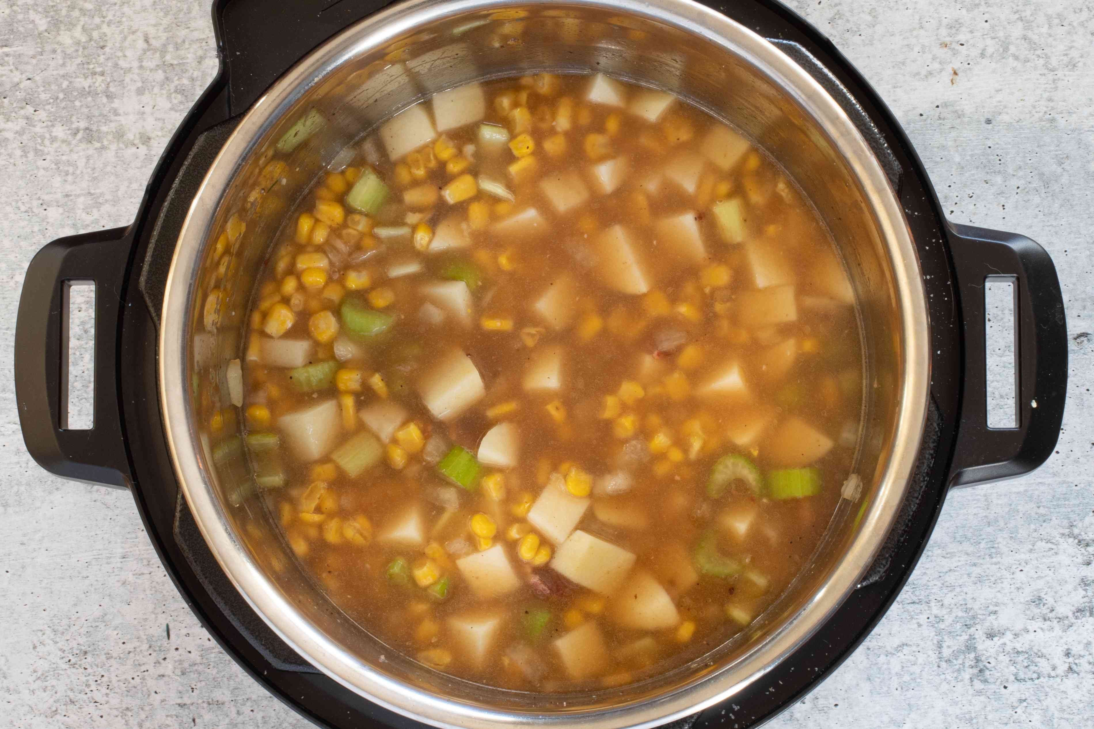 corn chowder mixture ready to cook
