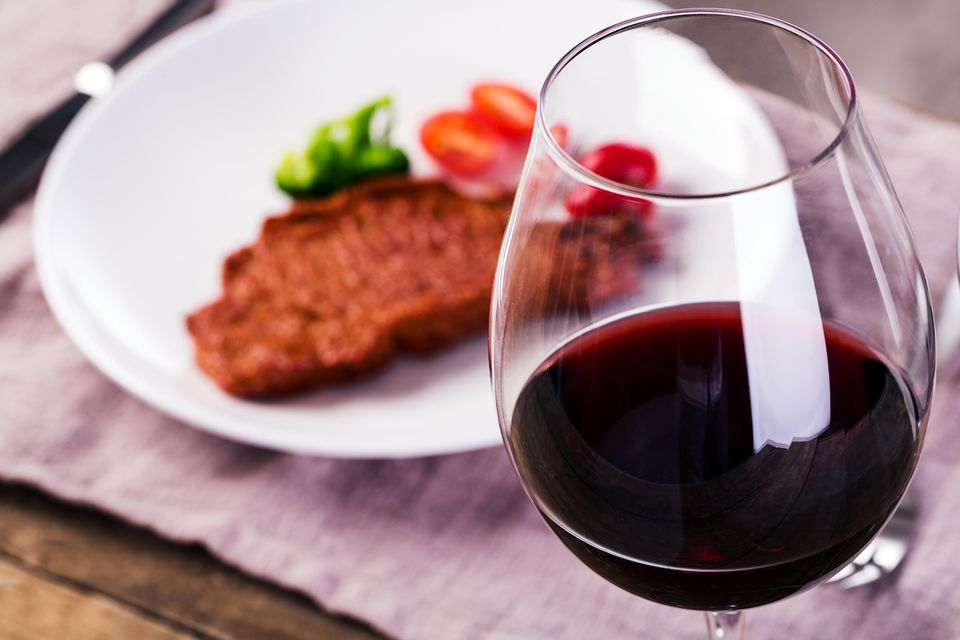 Closeup of Red Wine and Beef Steak