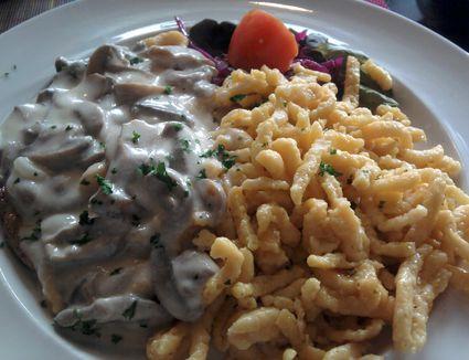 Jägerschnitzel - schnitzel with chasseur sauce