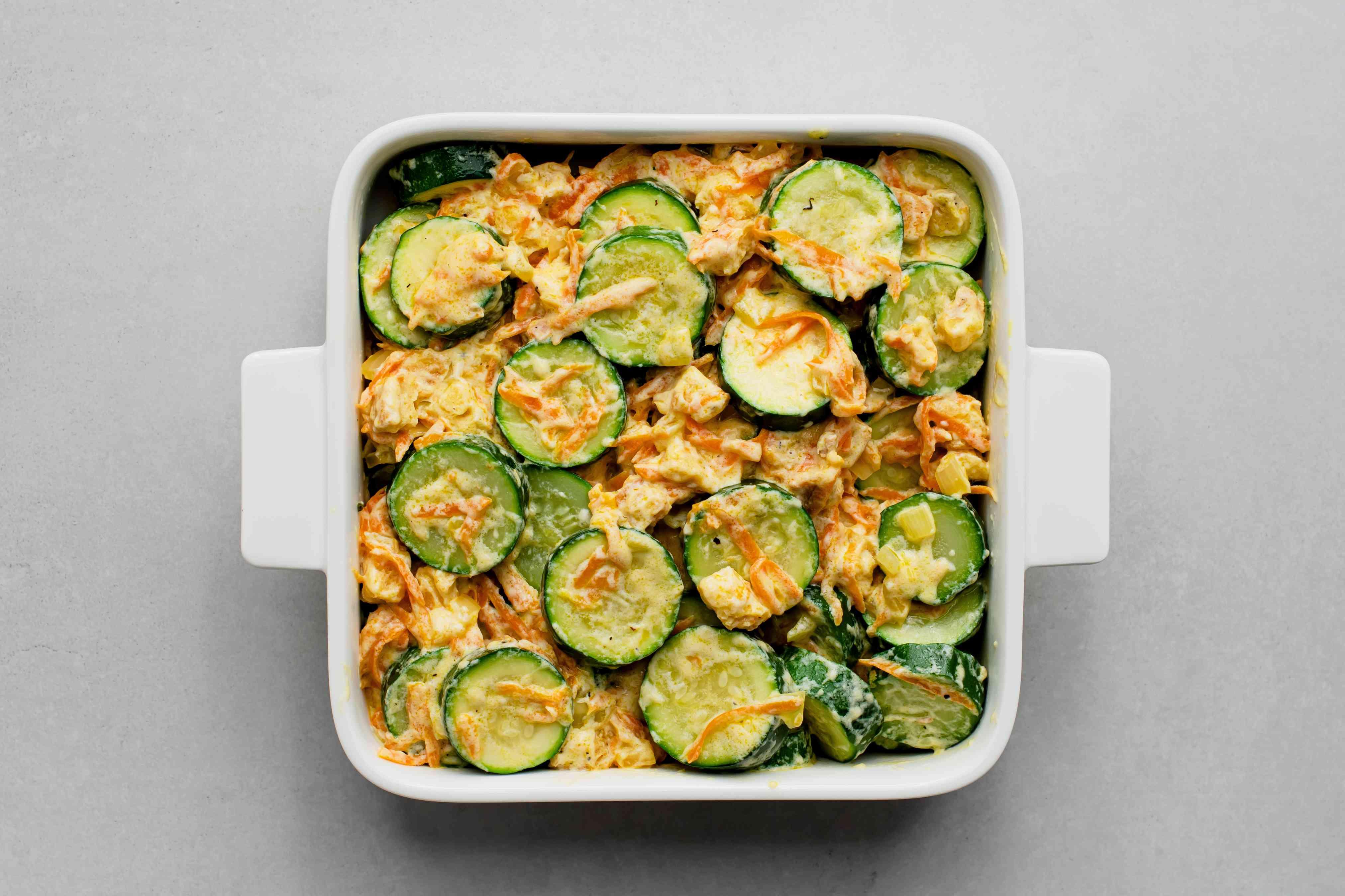 zucchini stuffing mixture in a casserole dish