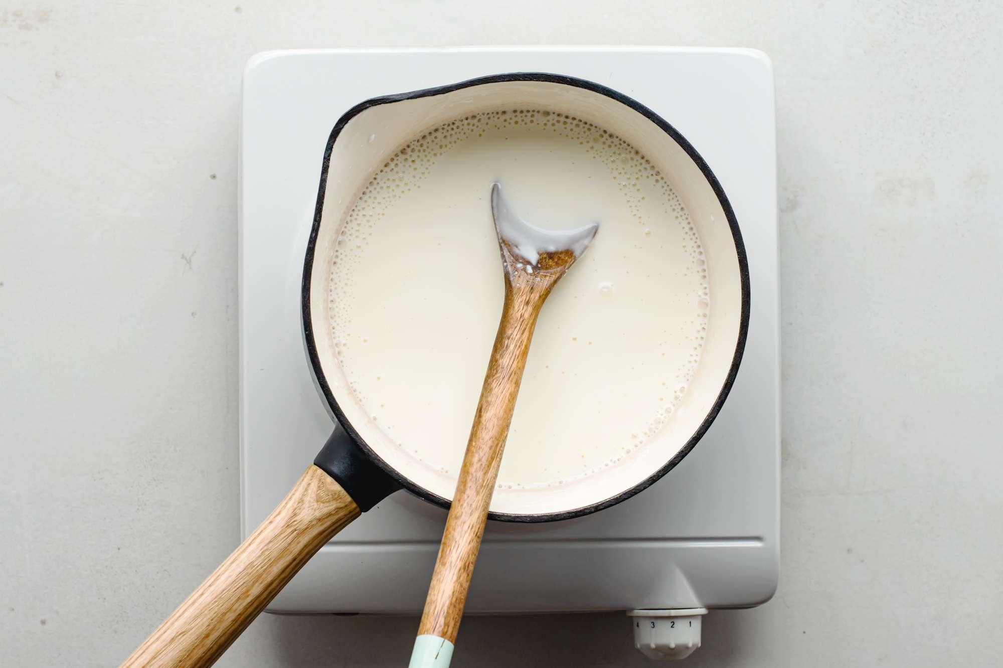Heat milk and cream cheese