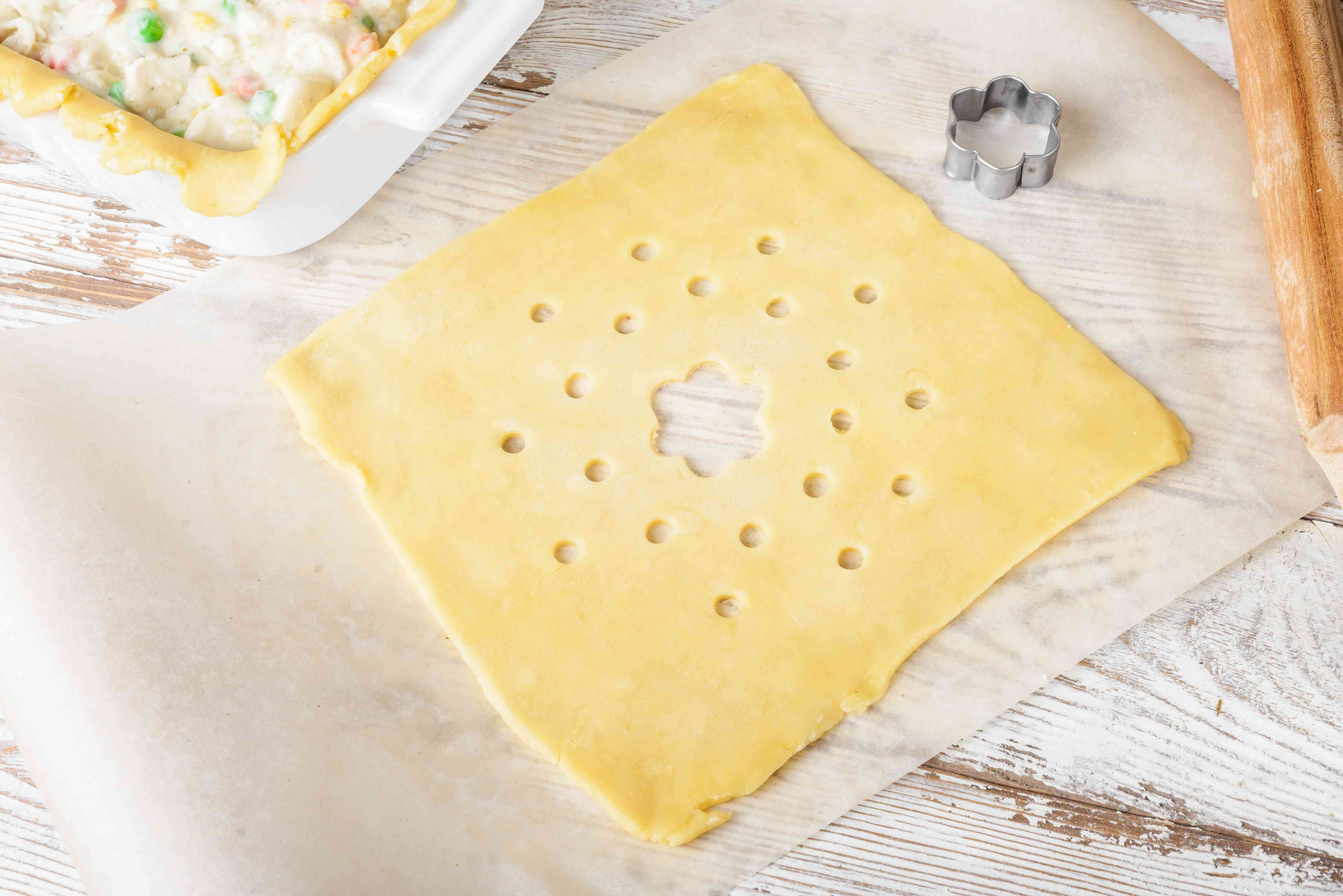 Roll pastry into square