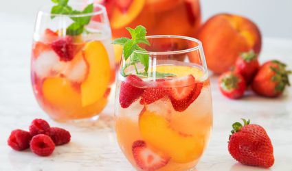 Rosé Sangria With Peach, Raspberry, and Strawberry