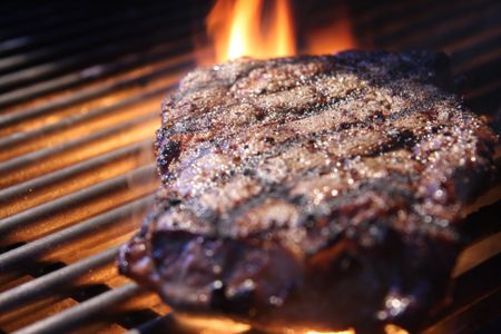 Grilled Steak With Flame