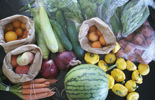 CSA Box June 24 fruits and vegetables