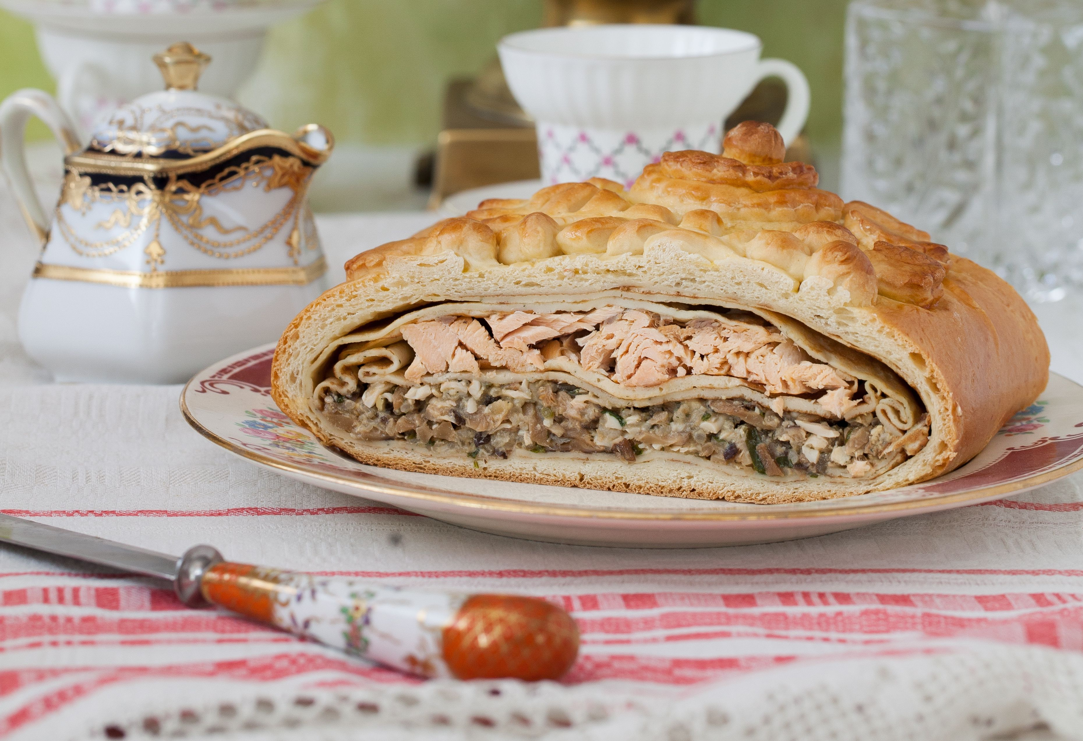 Pie with Salmon, Rice, Mushrooms, Onions and Dill
