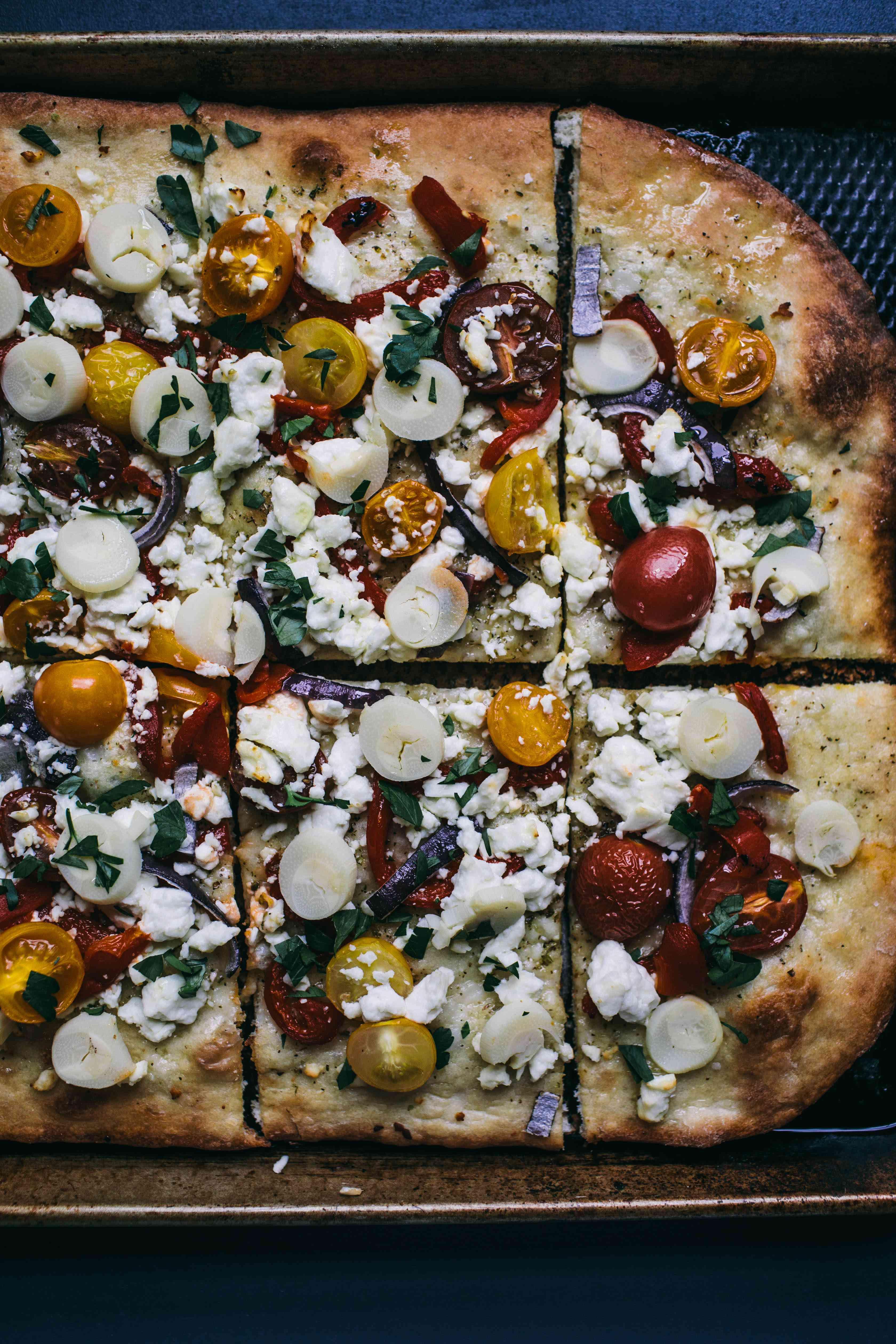 final baked mediterranean pizza
