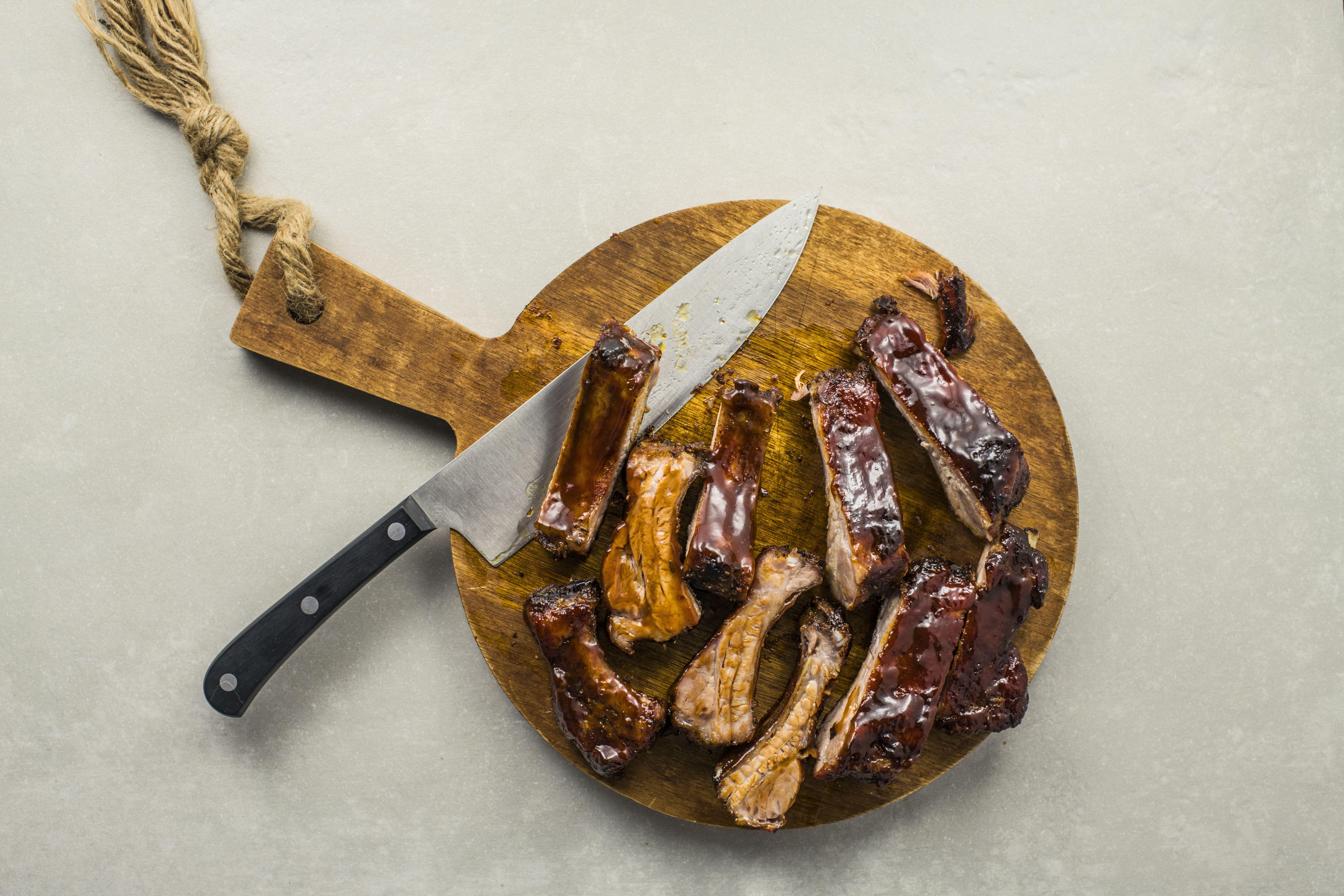 Cut ribs on a cutting board