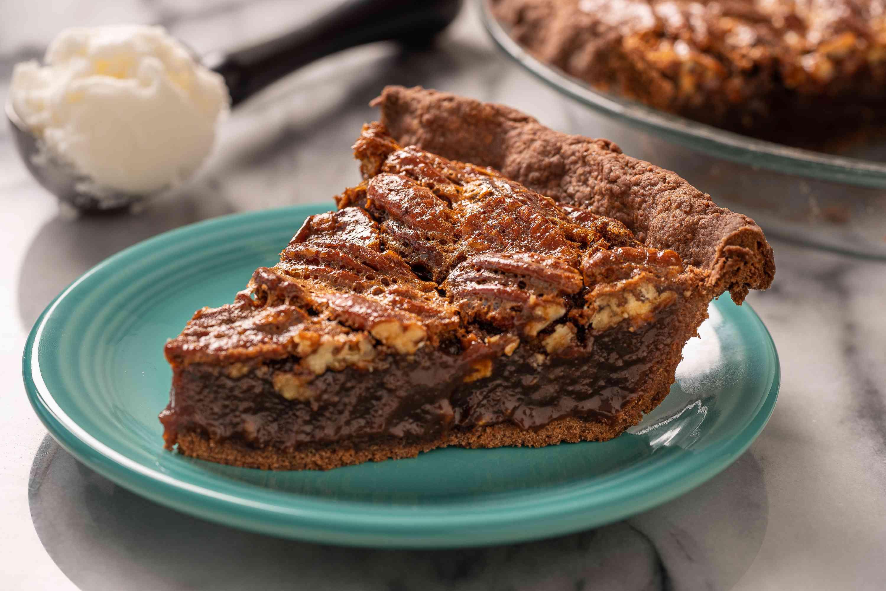 Serving of chocolate pecan pie