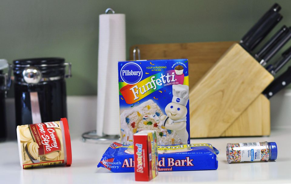 Cake-making ingredients on a counter