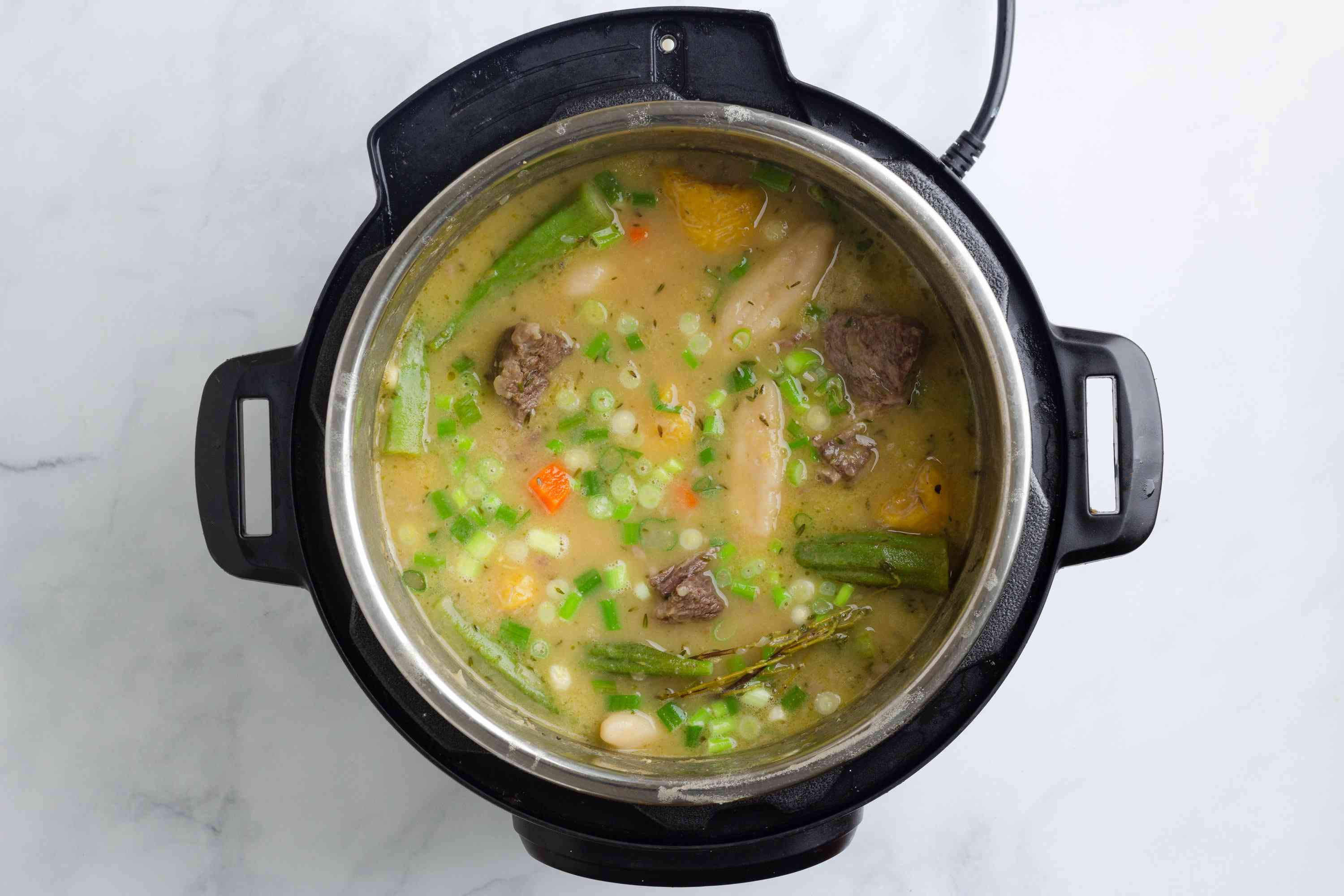 Caribbean Beef Soup in a slow cooker