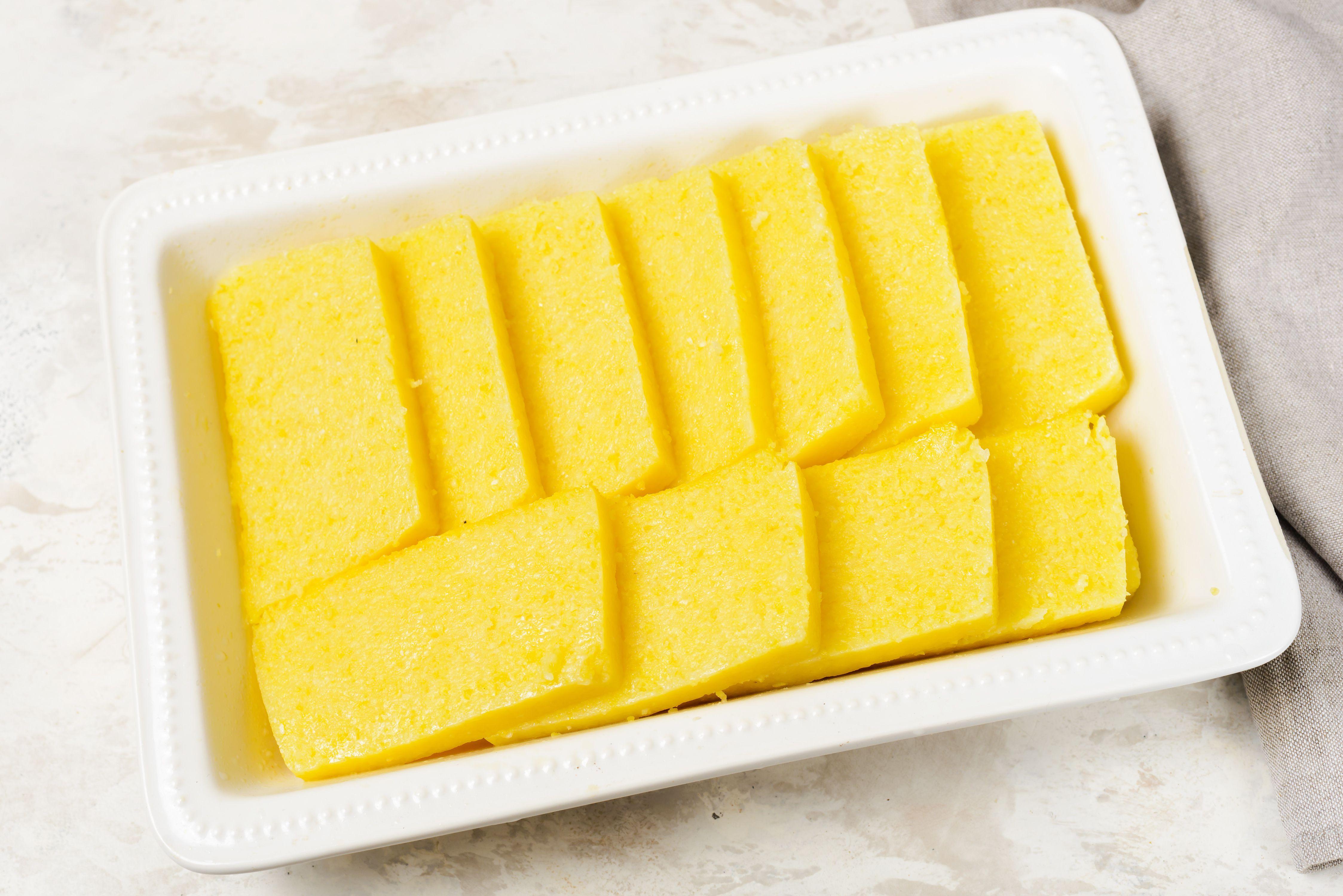 Put slices of polenta on tray
