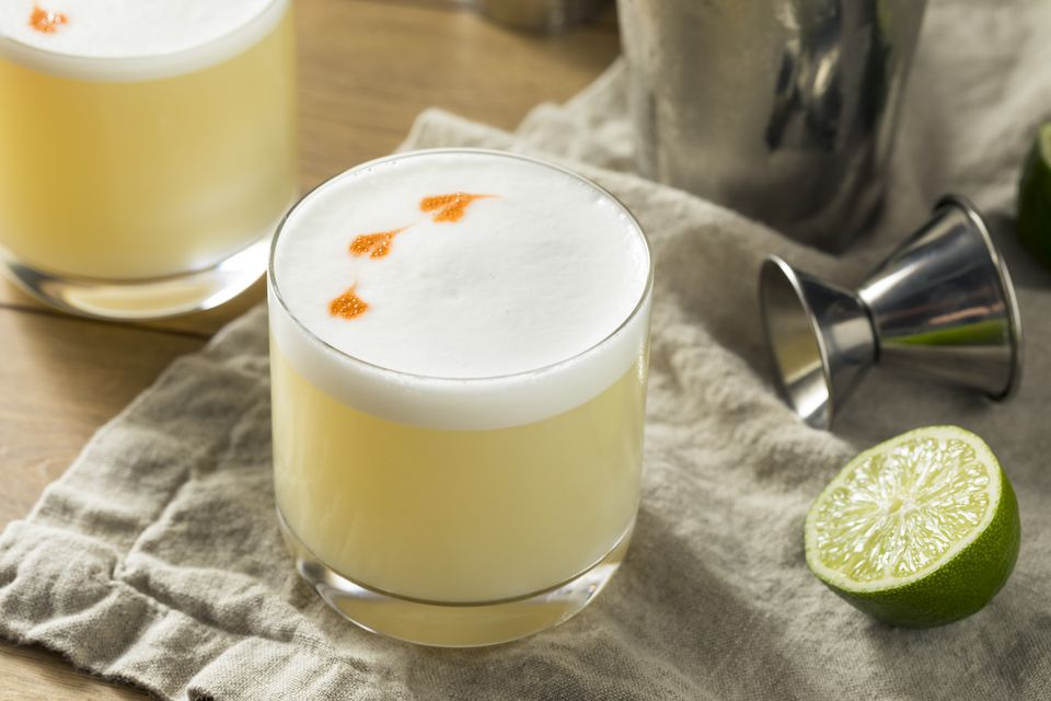 Pisco Sour With Egg White and Bitters Decoration