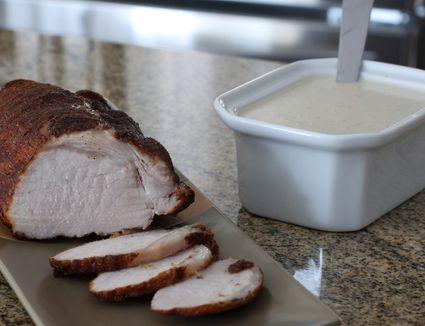 Spiced pork roast with sour cream gravy