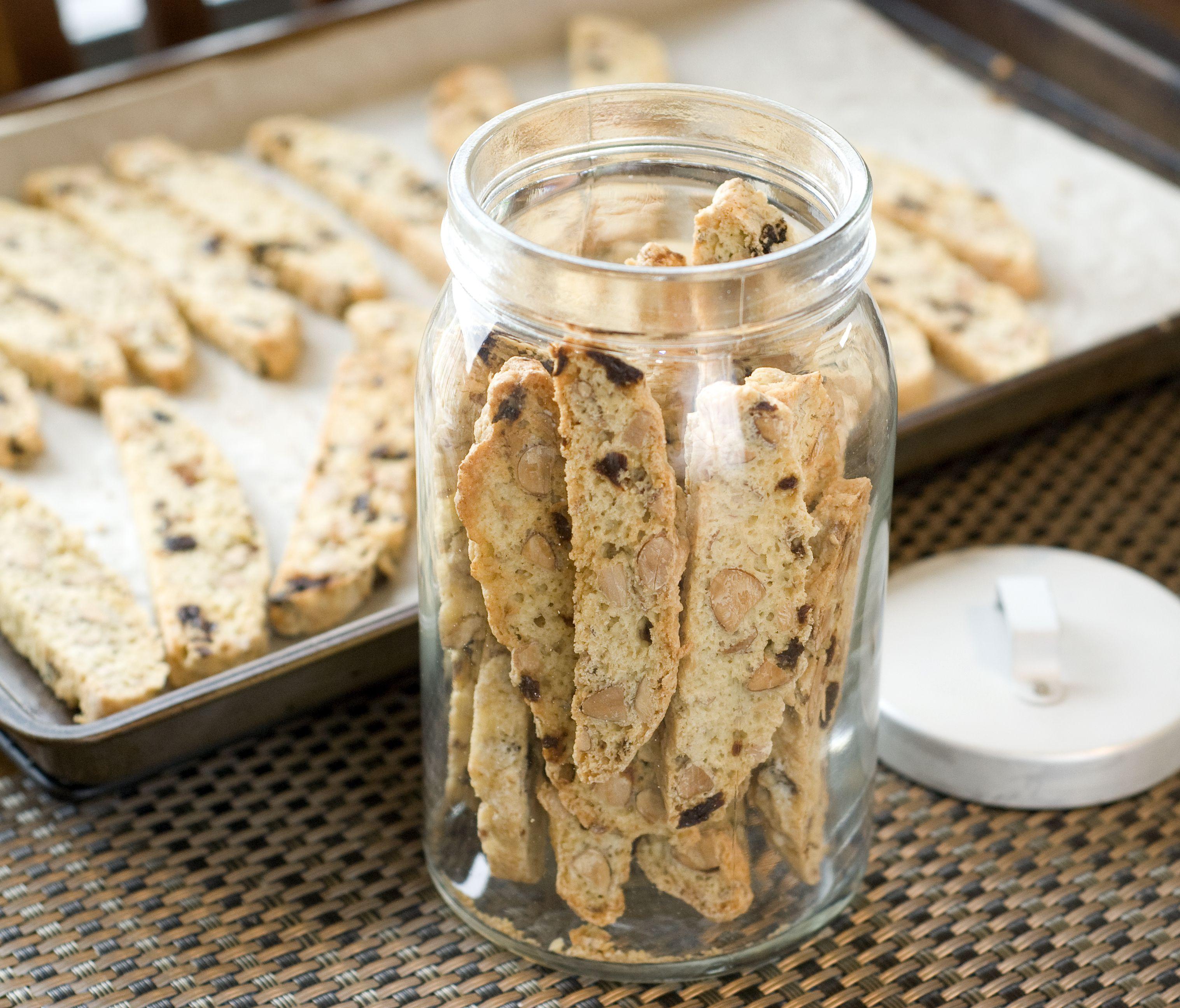 Almond & dried cherry biscotti