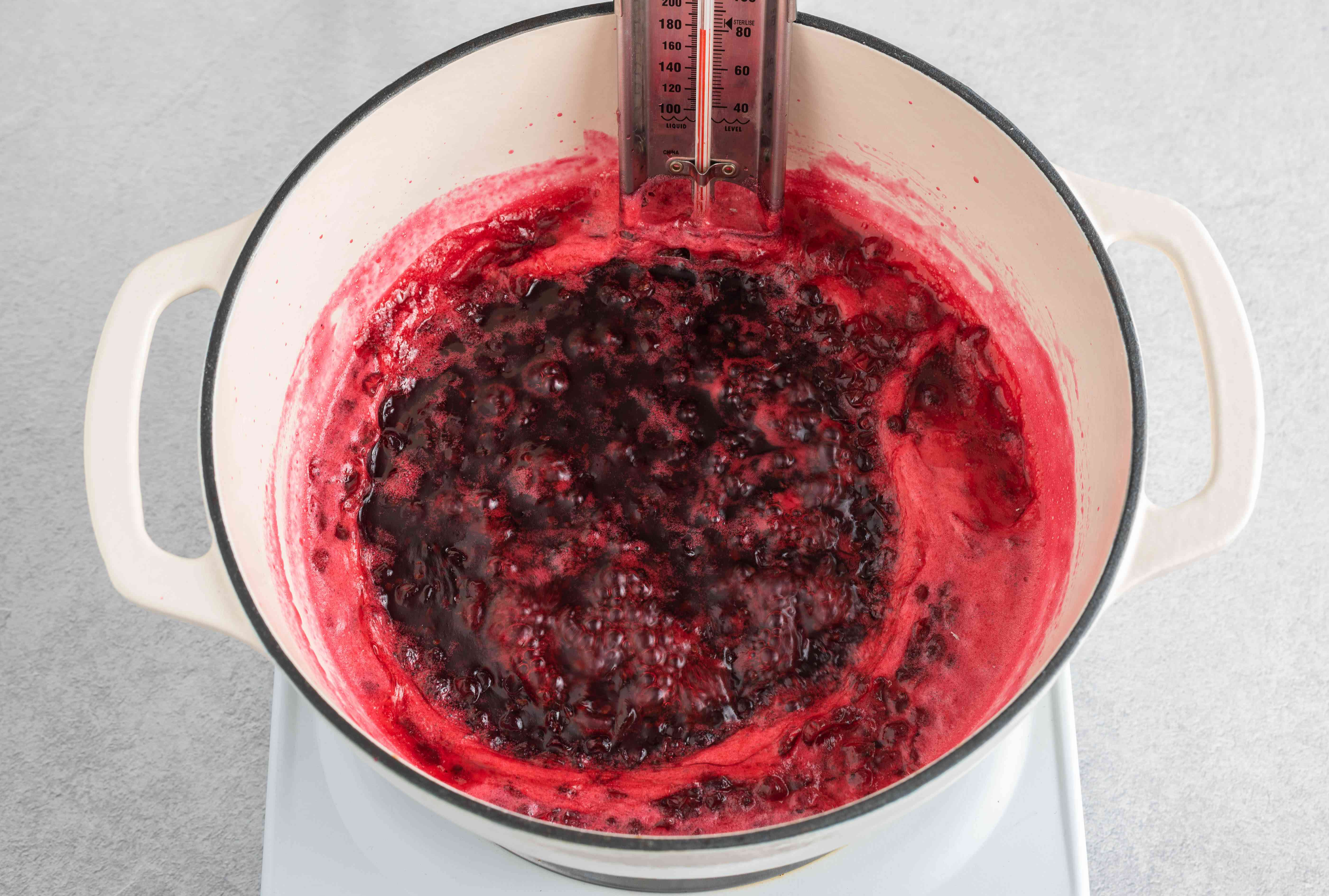 red currants being cooked in a large white pot testing temperature with a thermometer