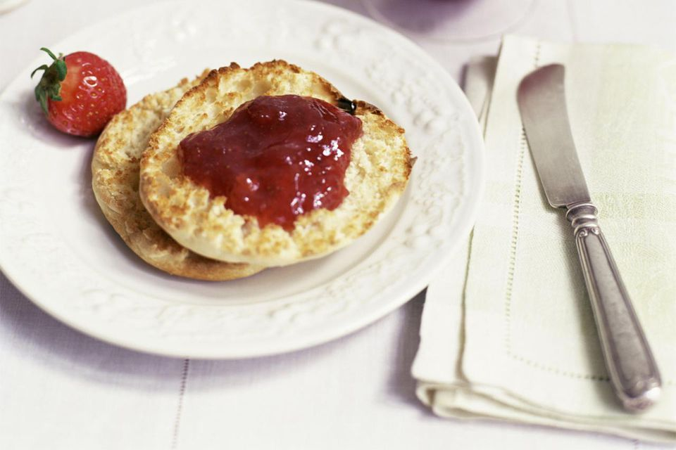English muffin with strawberry jam