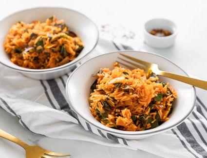 Easy vegan collard greens with rice