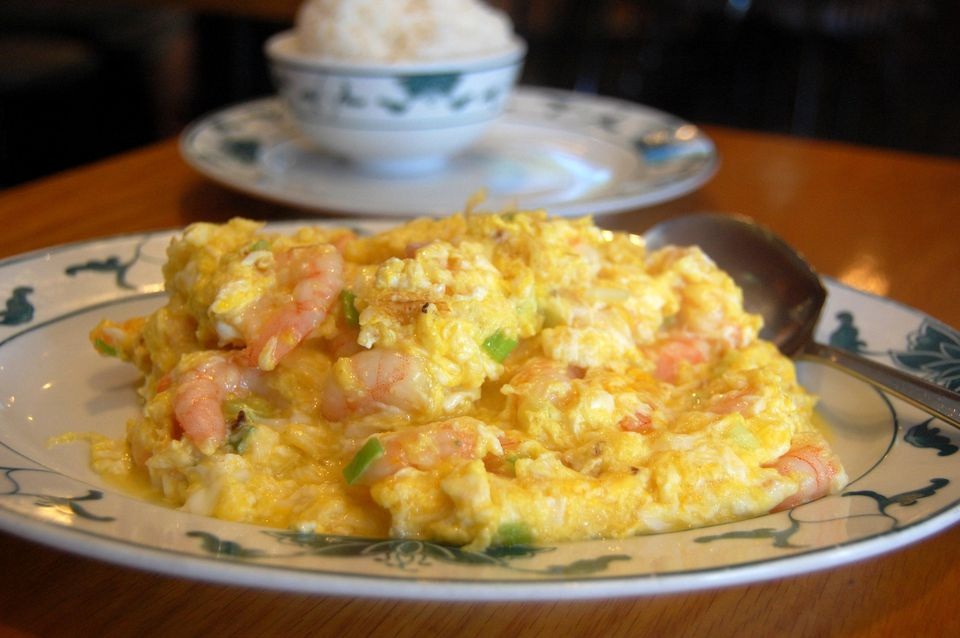 Shrimp with scrambled eggs