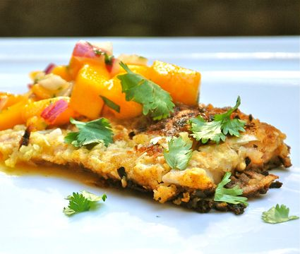 Coconut Crusted Fish Fillets With Mango Salsa