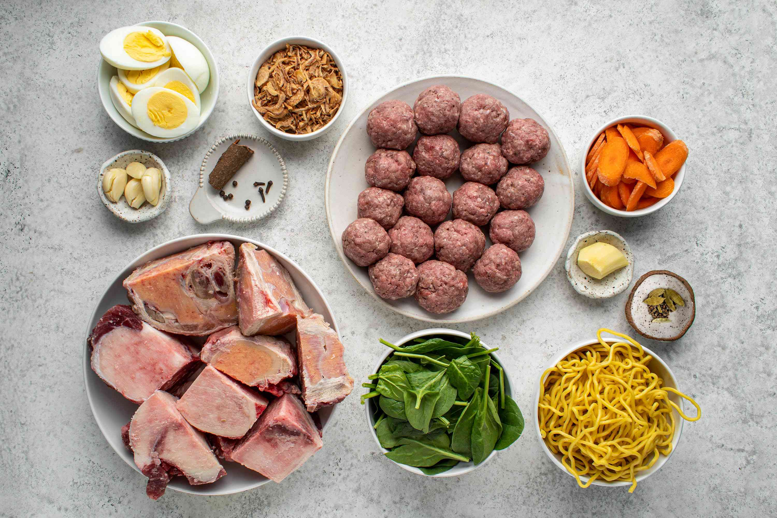 Mee Bakso (Indonesian Meatball and Noodle Soup) ingredients