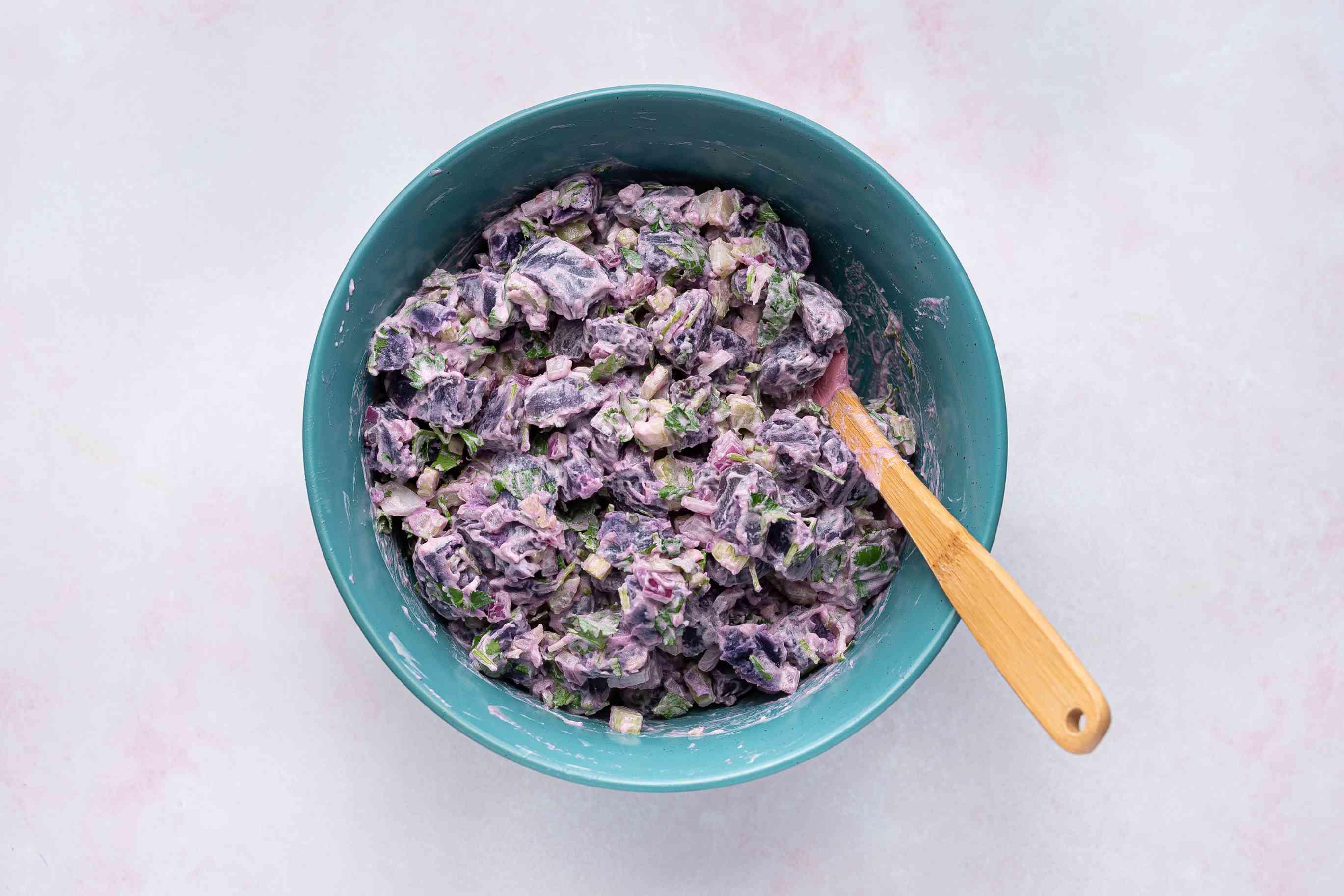 Purple Potato Salad in a bowl