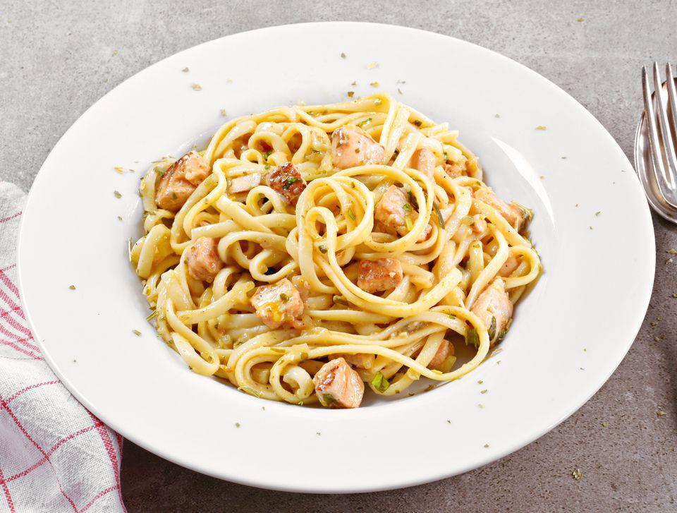 Plate of salmon spaghetti carbonara