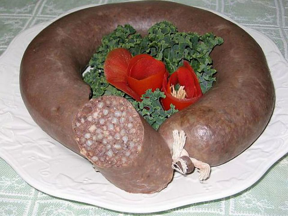 A plate of Polish Kiszka (blood sausage)