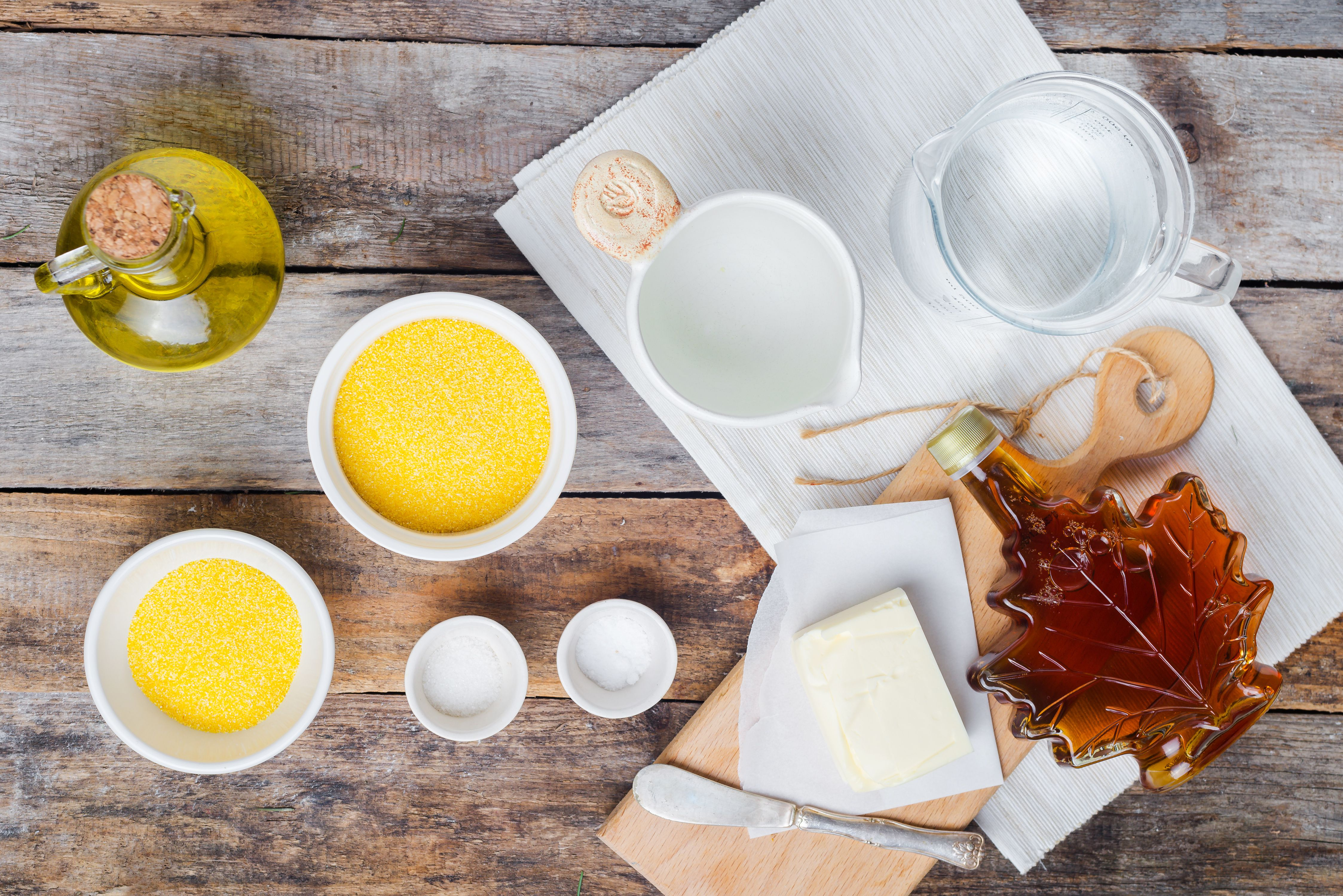 Ingredients for Southern fried cornmeal mush