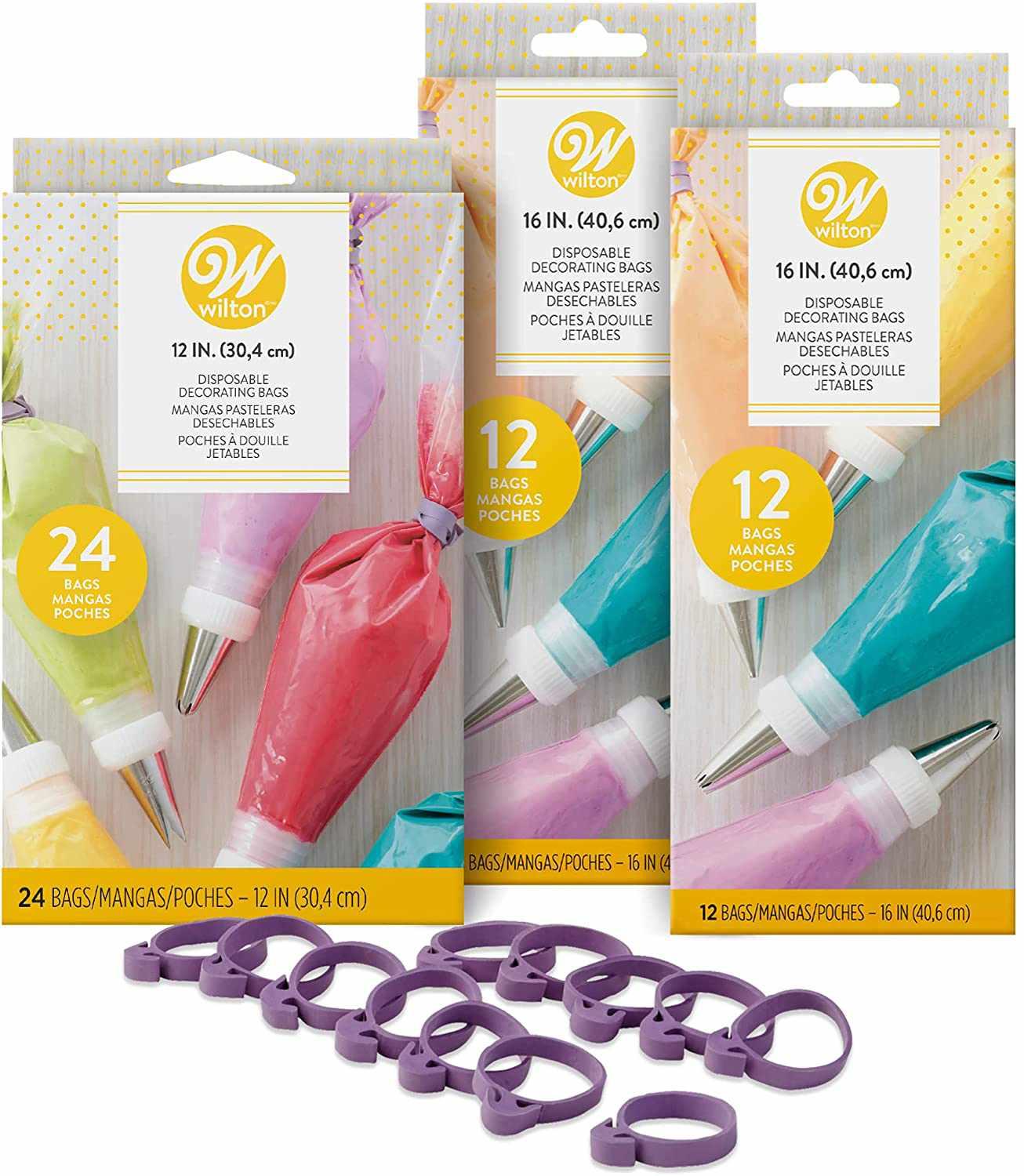 Wilton Assorted Size Disposable Decorating Bags With Ties