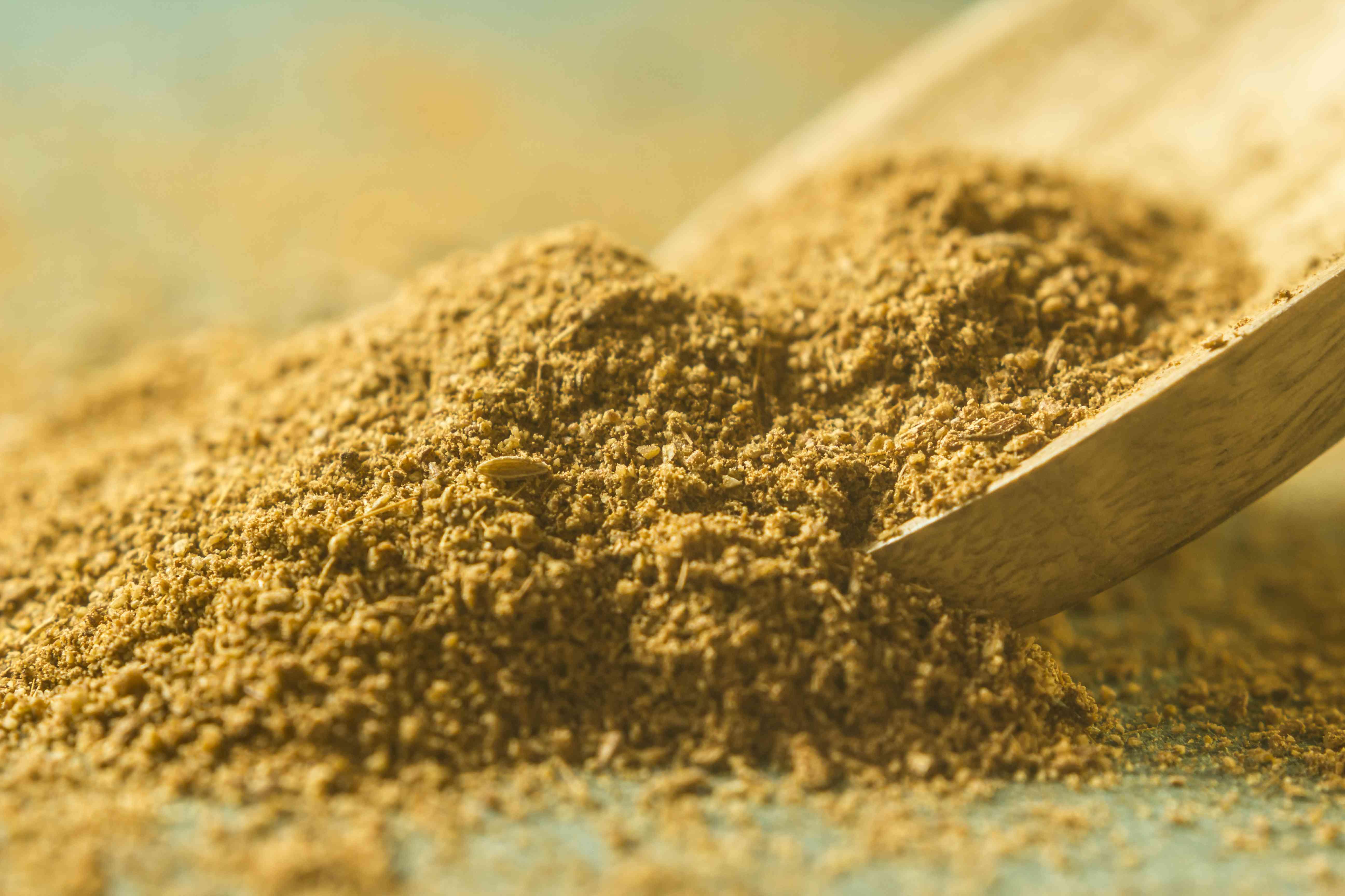 Ground cumin powder in wooden spoon.