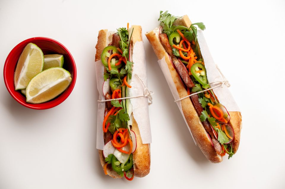 Classic banh mi vietnamese sandwich
