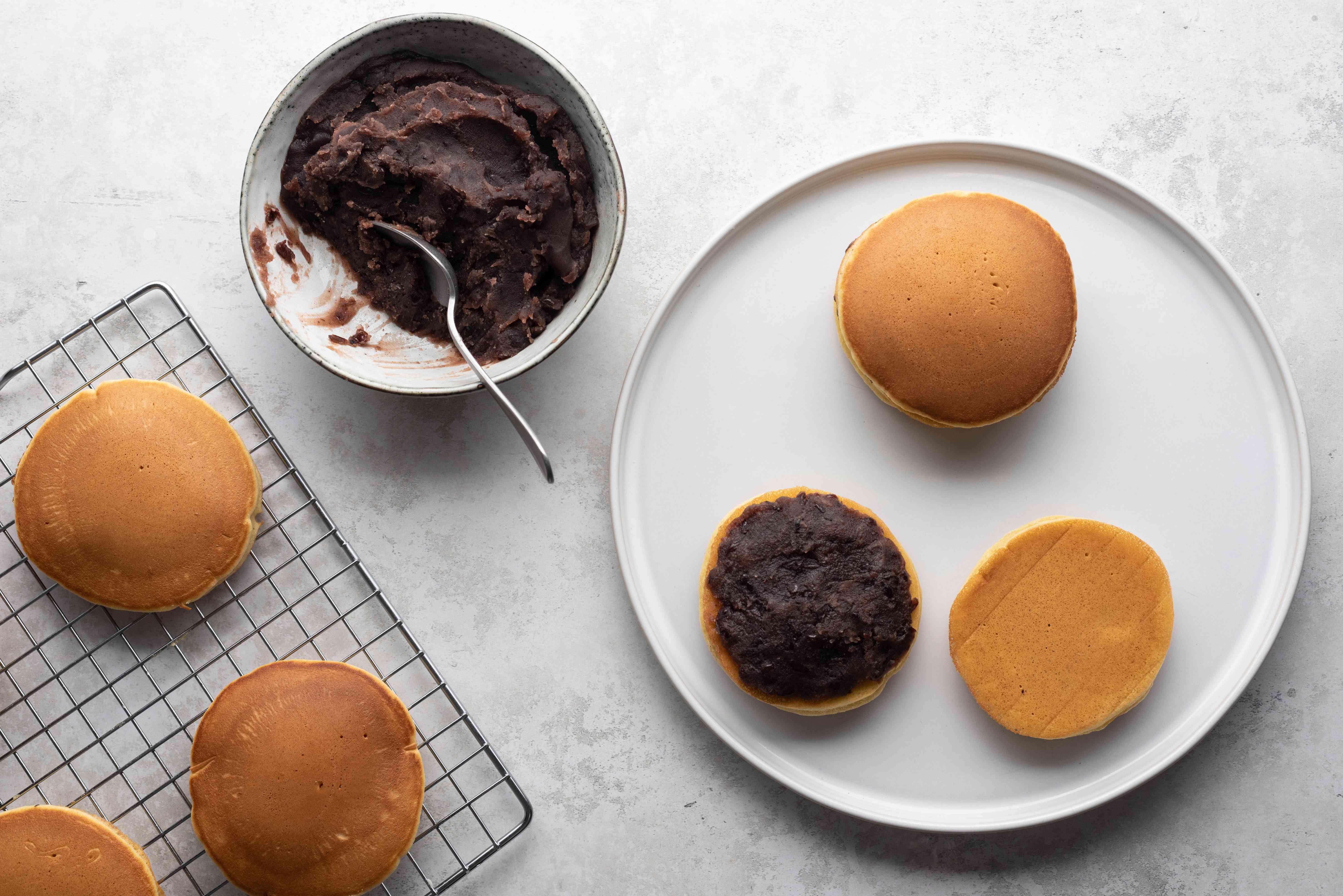 Dorayaki: Japanese Sweet-Filled Pancakes on a plate